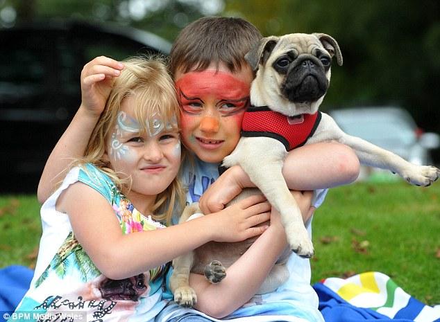 kids with pug